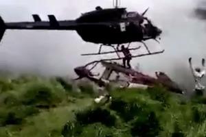 Лопасти вертолёта разрубили инженера. Жуткое видео