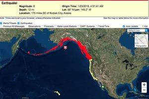 Землетрясение на Аляске: на побережье обрушились 13-метровые волны