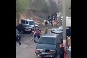 Появилось видео погрома цыганского табора на Лысой горе