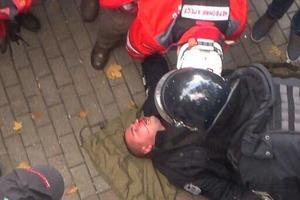 Во время столкновений под Радой полицейскому разбили голову