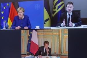 Вчора відбулася відеоконференція Президента України Володимира Зеленського з Меркель і Макрона досягнення миру на Донбасі