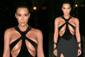 Кардашьян шокировала платьем с голой грудью