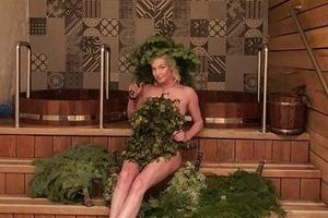 Волочкова в бане прикрылась еловым веником