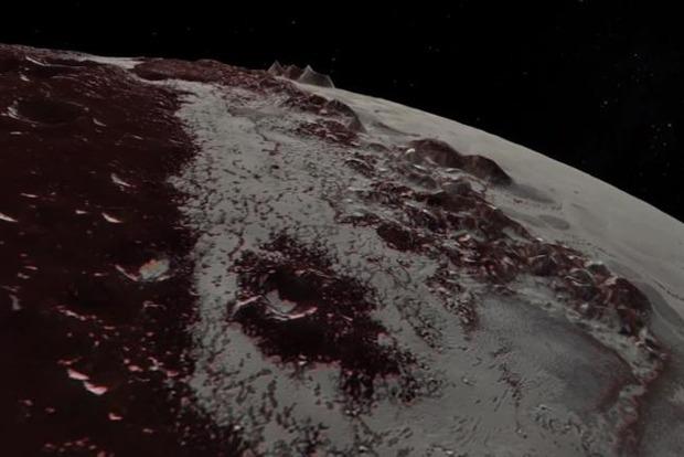 NASA показало полет New Horizons над поверхностью Плутона и Харона