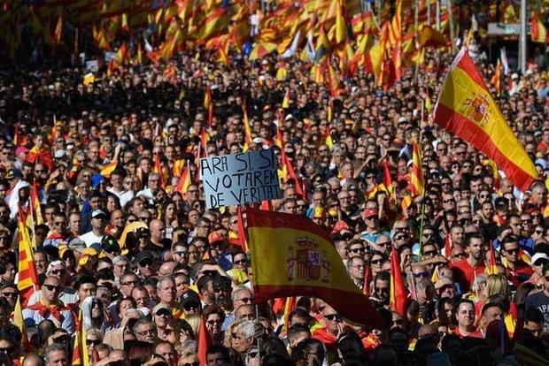 Сотні тисяч людей вийшли вБарселоні намарш за єдність Іспанії