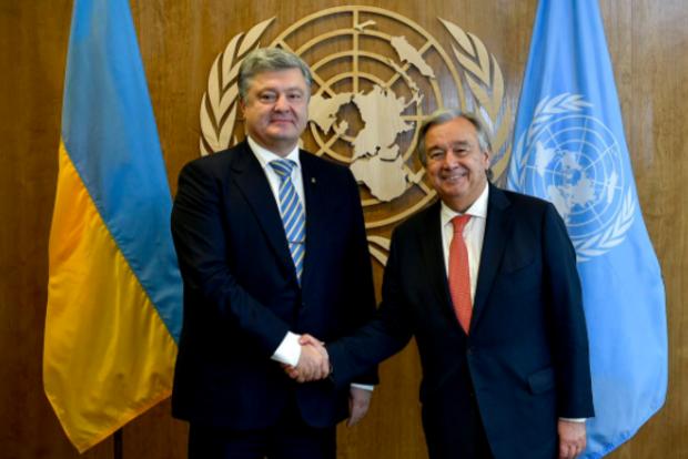 Порошенко обсудил с генеральным секретарем ООН введение миротворцев наДонбасс
