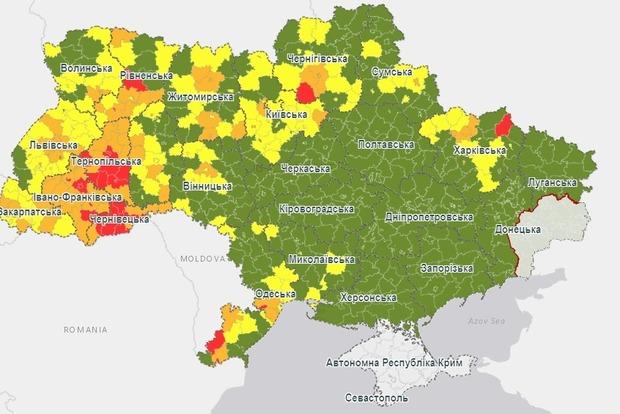 Из-за ухудшения ситуации с коронавирусом внесли изменения в карантинное разбиение на цветные зоны Украины