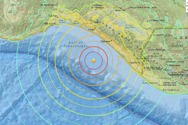 Рядом с Мексикой произошло мощное землетрясение