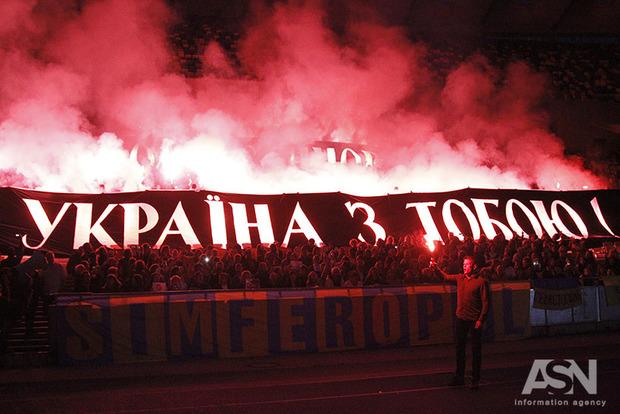 Стадион Олимпийский зажгли ради Олега Сенцова