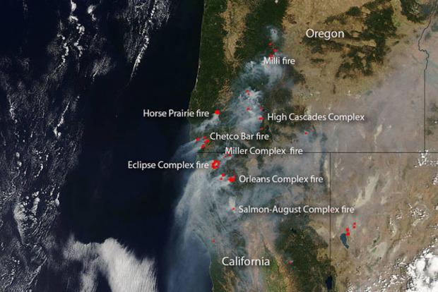 Пожары в Калифорнии. NASA показало масштабы трагедии из космоса