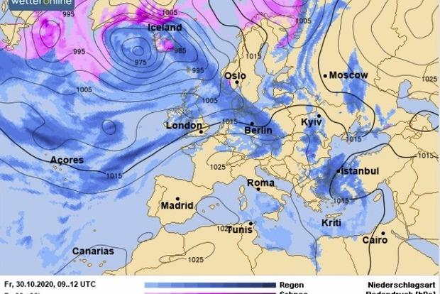 В Україні очікуються дощі і похолодання.