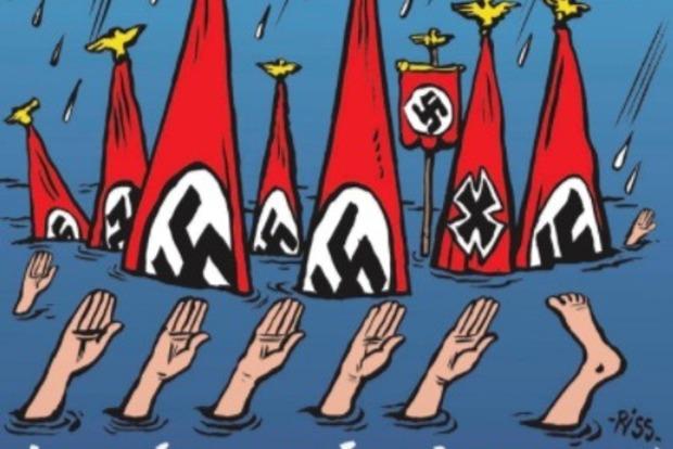 Неонацисты утонули: Charlie Hebdo обнародовал карикатуру про шторм вТехасе