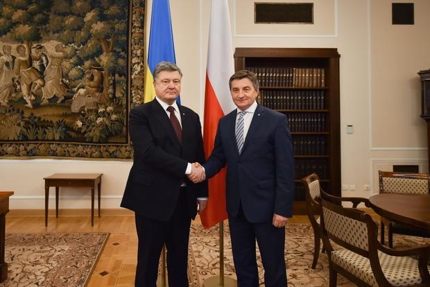 В Польше Порошенко обсудил с маршалом Сейма примирение между народами двух стран