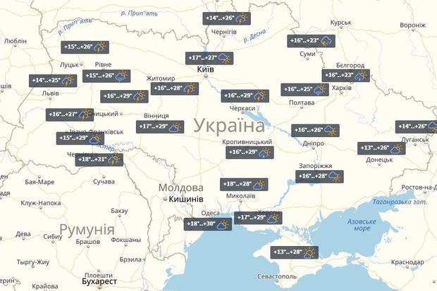 Сьогодні в Україні пройдуть дощі з грозами, але на заході почнеться спека