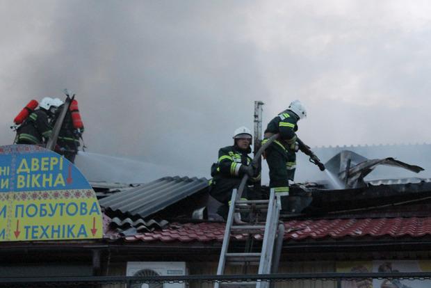 В Полтаве произошел масштабный пожар на центральном рынке