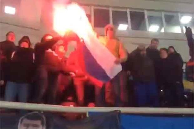 Ультрас «Шахтера» на матче с «Черноморцем» сожгли флаг России