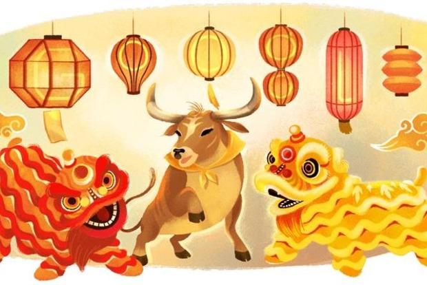 Гугл встречает китайский Новый год новым дудлом