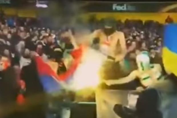 Ультрас сожгли флаг ДНР во время матча с «Сельтой» в Харькове