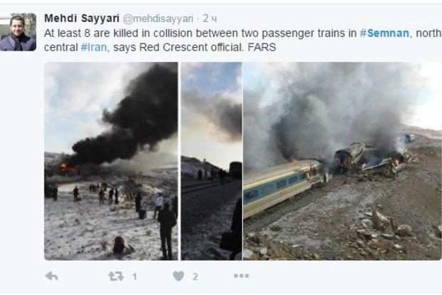 В Иране столкнулись два пассажирских поезда: 15 погибших