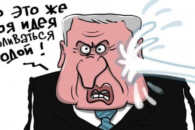 Собчак облила водой Жириновского: карикатура