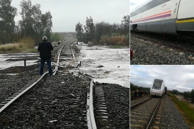 Из-за затопления сошел с рельсов поезд в Испании, десятки пострадавших