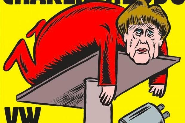 Немецкий выпуск Charlie Hebdo вышел с «уставшей» Меркель на подъемнике