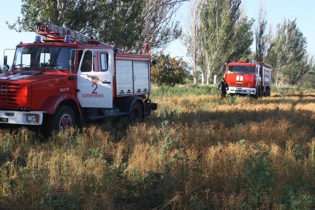 На запорожской Хортице горит 2 гектара сухостоя
