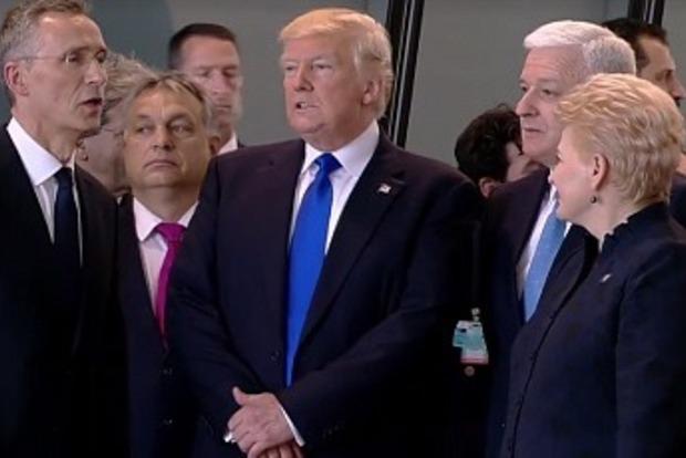 Трамп в Брюсселе оттолкнул премьера Черногории, чтобы выйти вперед