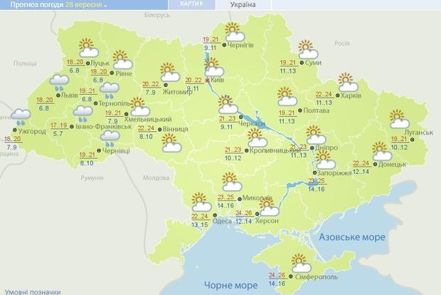 Погода на территории Украины на понедельник 28 сентября. Страшно? Нет? Тогда - читайте