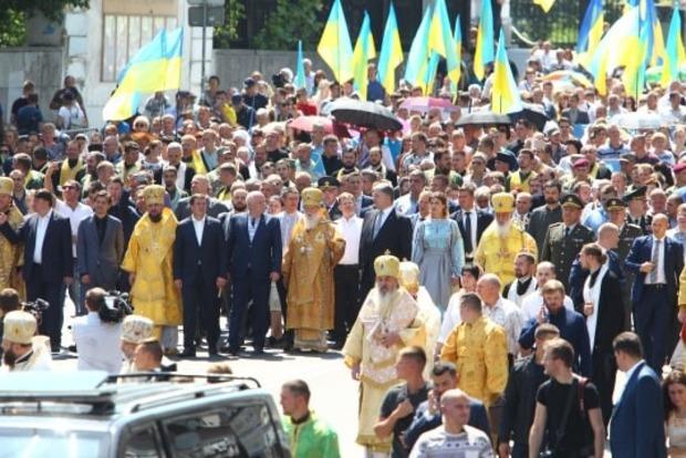 Крестный ход УПЦ КП в Киеве. В шествии участвует президент Украины