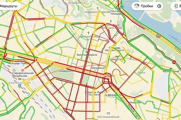 В Киеве образовались 9-бальные пробки