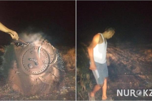 На западе Казахстана рухнул НЛО и сжег 100 Га степи