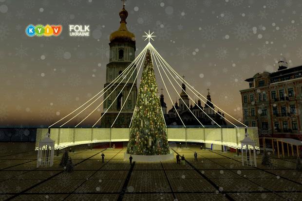 3,5 километра гирлянд и 1000 игрушек. Организаторы показали, как будет выглядеть главная елка Украины