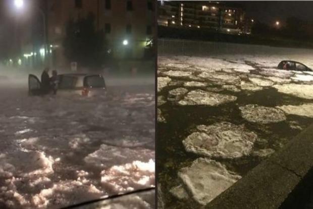 Аномальный ливень с градом затопил Рим. Появилось видео