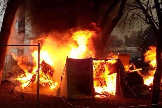 Впалаточном городе приверженцев Саакашвили под Радой произошел пожар