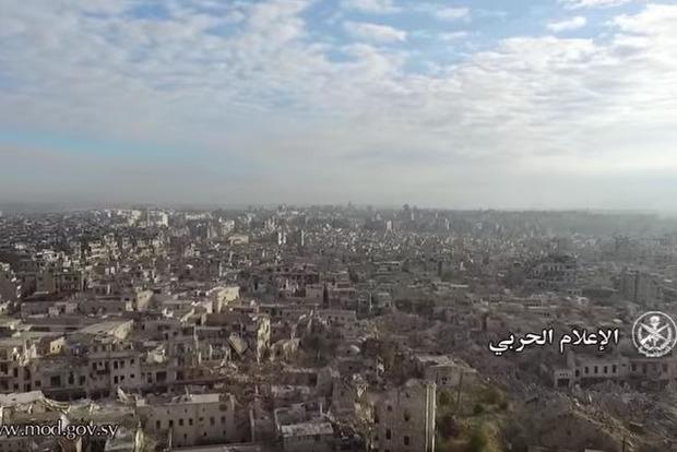 Пять лет войны: Минобороны Сирии опубликовало видео разрушенного Алеппо