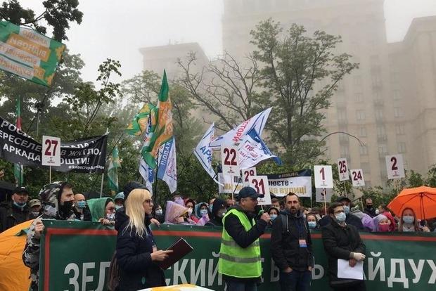 Протестующие перекрыли движение по Крещатику