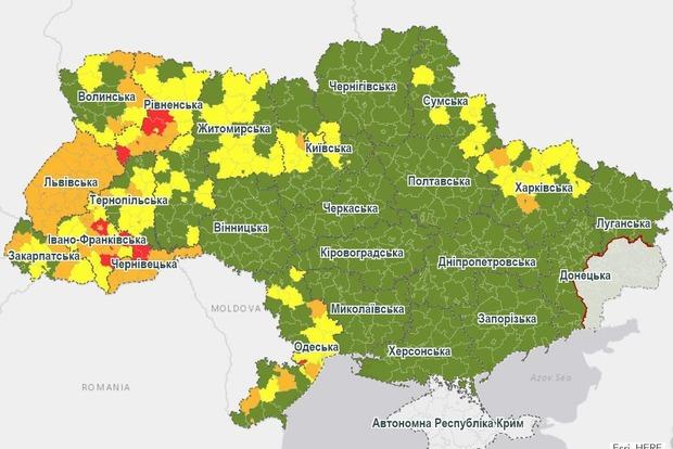 Украина с 31 августа меняет карантинные зоны на две недели
