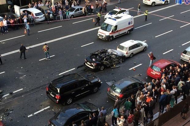 Взрыв авто Махаури в центре Киева: появилось новое видео