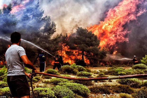 Машины плавились, люди спасаются в реках: страшные кадры пожаров в Греции