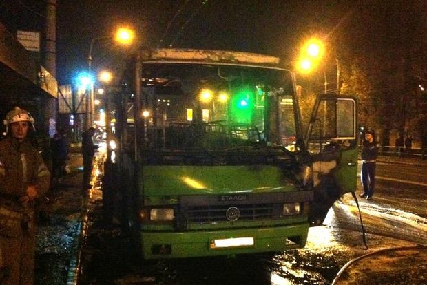 В Полтаве на остановке сгорел автобус