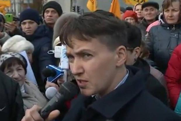 Савченко призвала продолжить протест в центре Киева и сказала, что власть нежизнеспособна