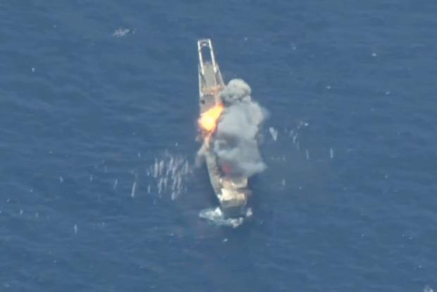 Гибель американского военного корабля попала на видео