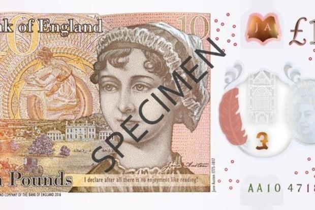 Банк Англии презентовал новую полимерную 10-фунтовую банкноту с портретом Джен Остин