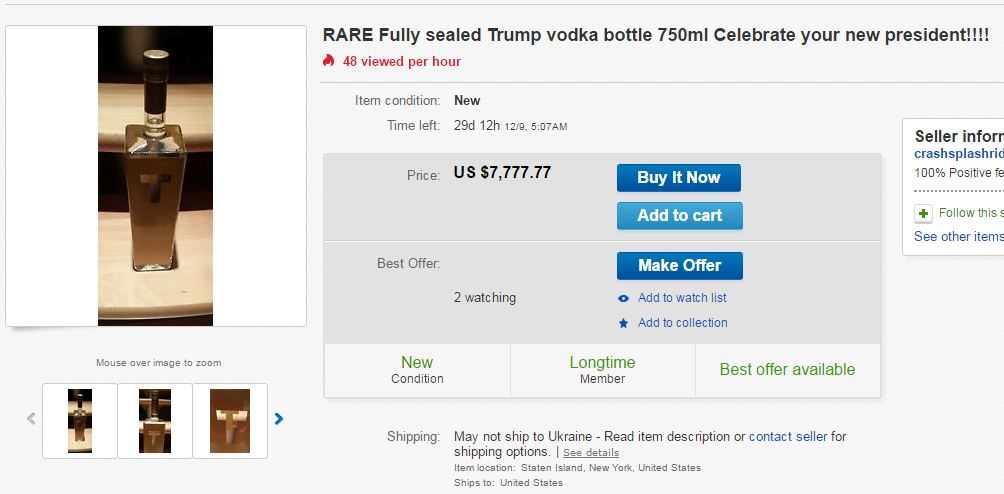 Fully sealed Trump vodka bottle 750ml