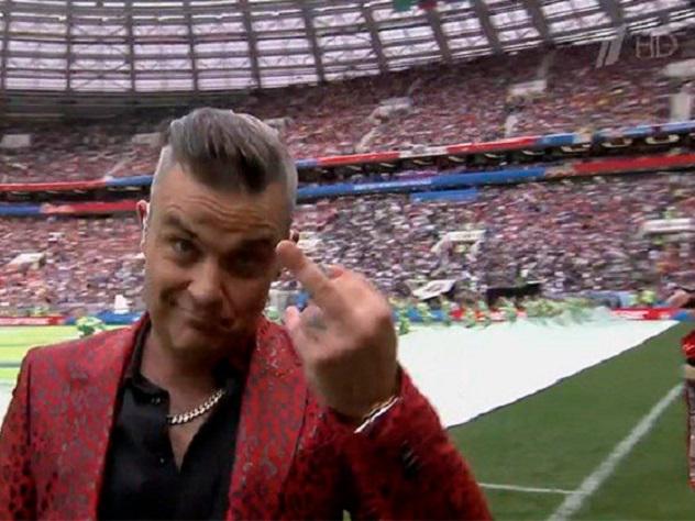 Робби Уильямс, средний палец, церемонии открытия, ЧМ-2018